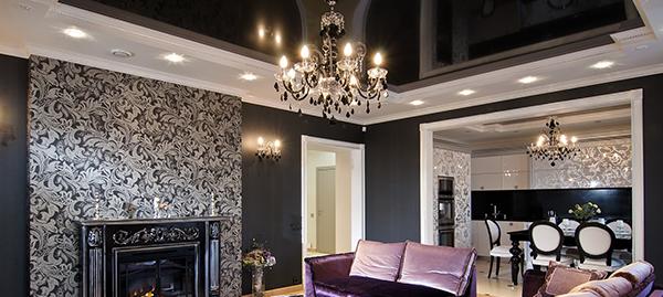 Черный потолок, особенности его оформления в разных стилях