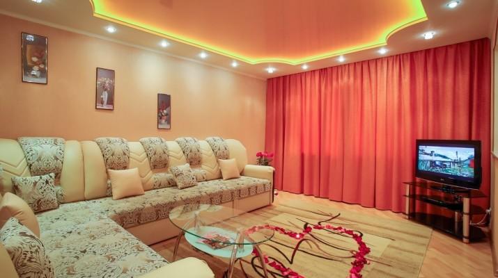 Натяжные потолки двухуровневые фото для зала, готовые идеи