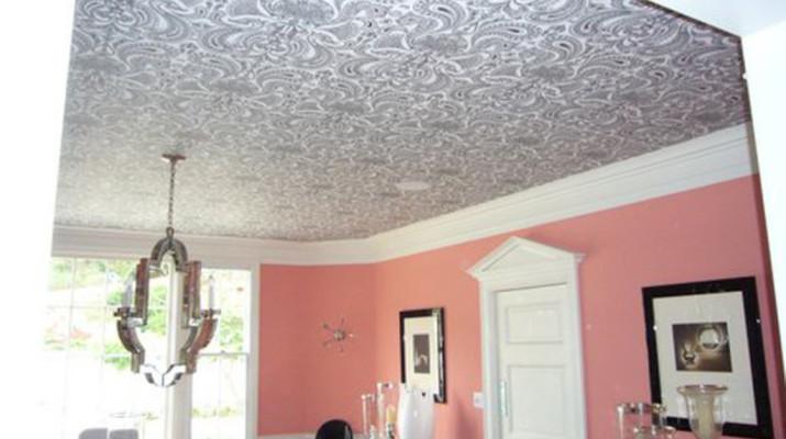 Обои на потолок, фото дизайн и как сделать самому